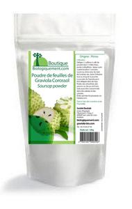 Sachet de poudre de feuille de Graviola Corossol disponible sur Biologiquement.com