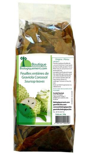 Acheter en France de la feuille entière de graviola corossol sur la boutique Biologiquement.com